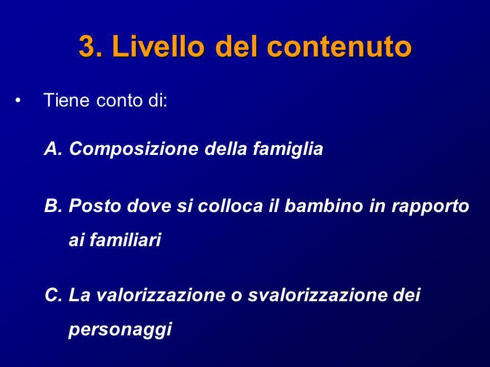 3. Livello del contenuto Tiene conto di: A.Composizione della famiglia B.Posto dove si colloca il bambino in rapporto ai familiari C.La valorizzazione