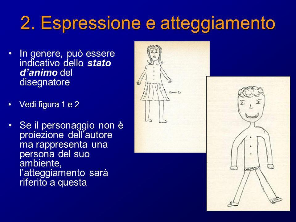2. Espressione e atteggiamento In genere, può essere indicativo dello stato danimo del disegnatore Vedi figura 1 e 2 Se il personaggio non è proiezion