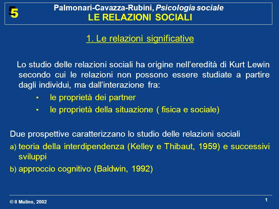 © Il Mulino, 2002 Palmonari-Cavazza-Rubini, Psicologia sociale LE RELAZIONI SOCIALI 5 5 1 1.