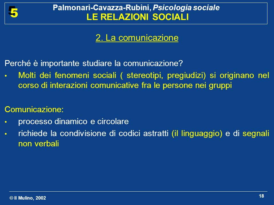 © Il Mulino, 2002 Palmonari-Cavazza-Rubini, Psicologia sociale LE RELAZIONI SOCIALI 5 5 18 2.