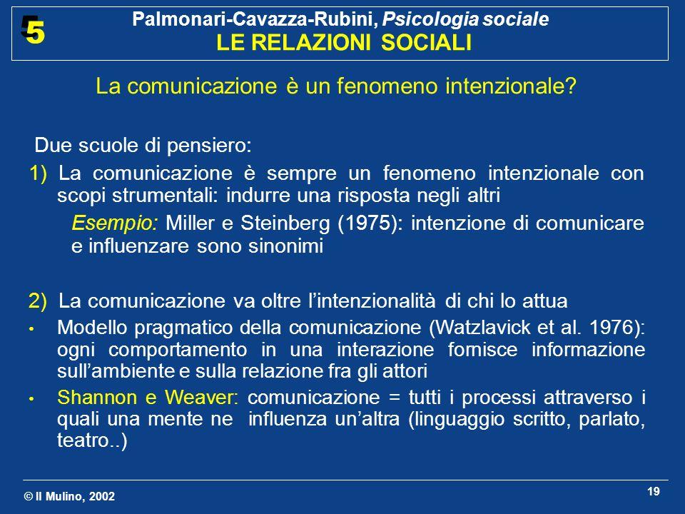 © Il Mulino, 2002 Palmonari-Cavazza-Rubini, Psicologia sociale LE RELAZIONI SOCIALI 5 5 19 La comunicazione è un fenomeno intenzionale.