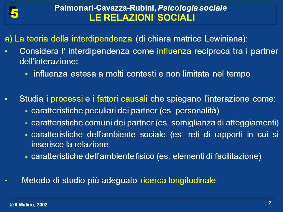 © Il Mulino, 2002 Palmonari-Cavazza-Rubini, Psicologia sociale LE RELAZIONI SOCIALI 5 5 2 a) La teoria della interdipendenza (di chiara matrice Lewiniana): Considera l interdipendenza come influenza reciproca tra i partner dellinterazione: influenza estesa a molti contesti e non limitata nel tempo Studia i processi e i fattori causali che spiegano linterazione come: caratteristiche peculiari dei partner (es.