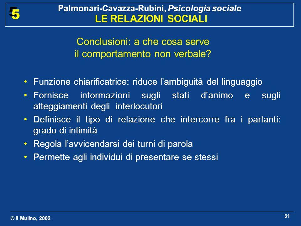 © Il Mulino, 2002 Palmonari-Cavazza-Rubini, Psicologia sociale LE RELAZIONI SOCIALI 5 5 31 Conclusioni: a che cosa serve il comportamento non verbale.