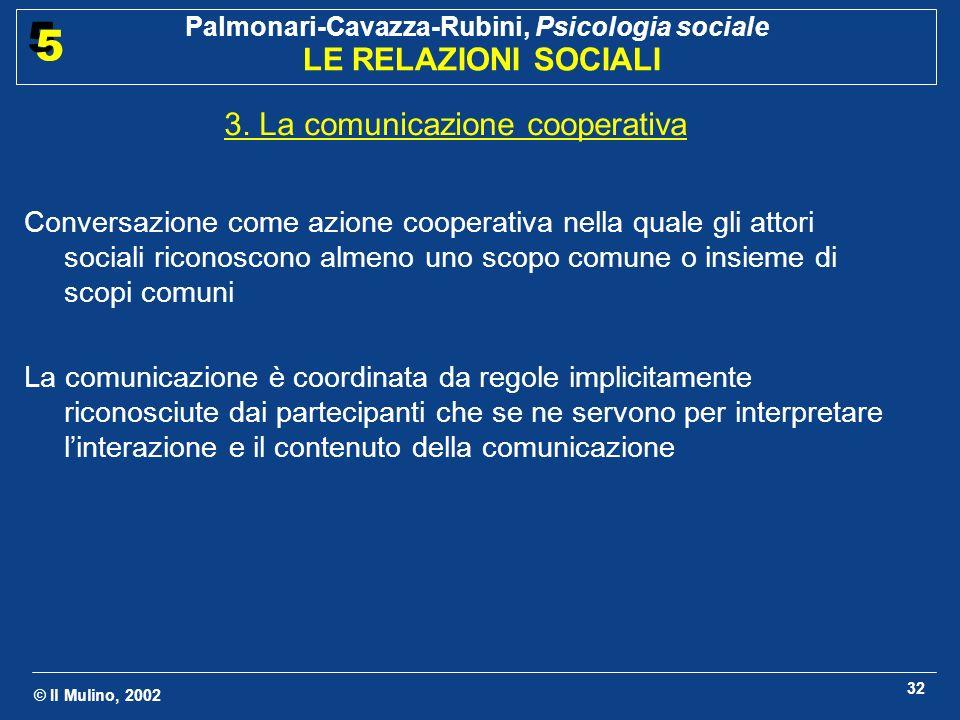 © Il Mulino, 2002 Palmonari-Cavazza-Rubini, Psicologia sociale LE RELAZIONI SOCIALI 5 5 32 3.
