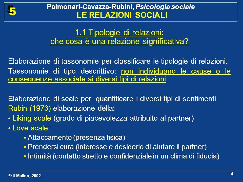 © Il Mulino, 2002 Palmonari-Cavazza-Rubini, Psicologia sociale LE RELAZIONI SOCIALI 5 5 4 1.1 Tipologie di relazioni: che cosa è una relazione significativa.
