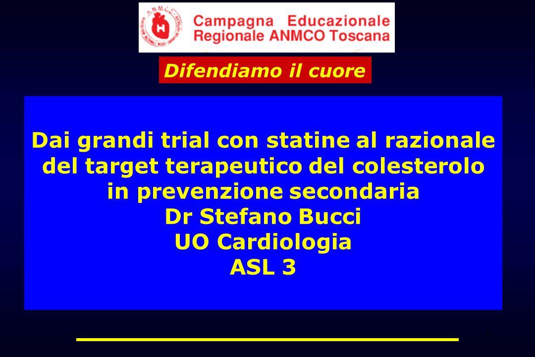 1 Dai grandi trial con statine al razionale del target terapeutico del colesterolo in prevenzione secondaria Dr Stefano Bucci UO Cardiologia ASL 3 Dif