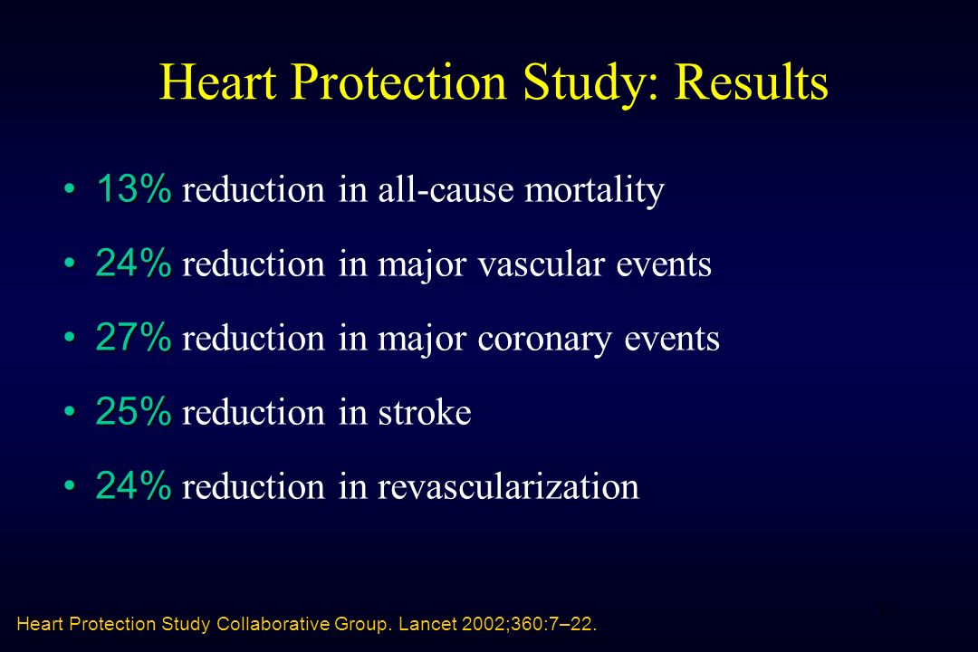 11 Heart Protection Study: Results 13% 13% reduction in all-cause mortality 24% 24% reduction in major vascular events 27% 27% reduction in major coro