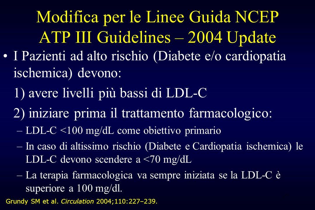 27 Modifica per le Linee Guida NCEP ATP III Guidelines – 2004 Update I Pazienti ad alto rischio (Diabete e/o cardiopatia ischemica) devono: 1) avere l