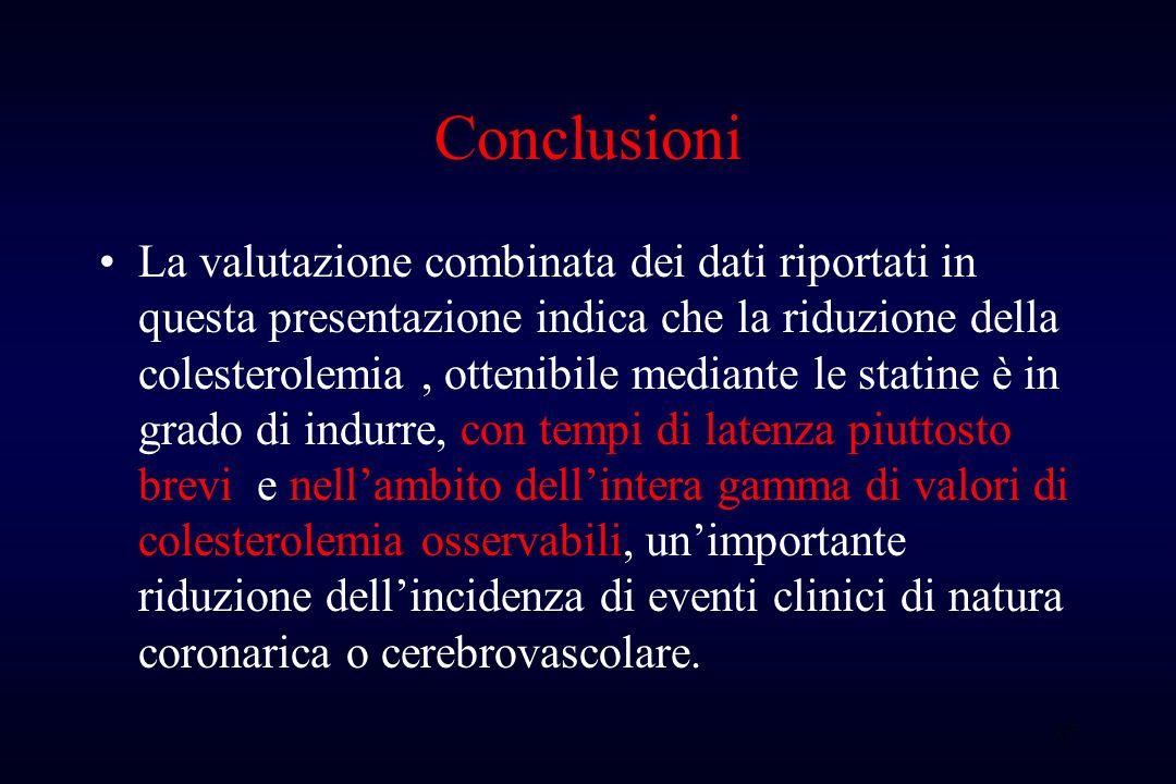 37 Conclusioni La valutazione combinata dei dati riportati in questa presentazione indica che la riduzione della colesterolemia, ottenibile mediante l