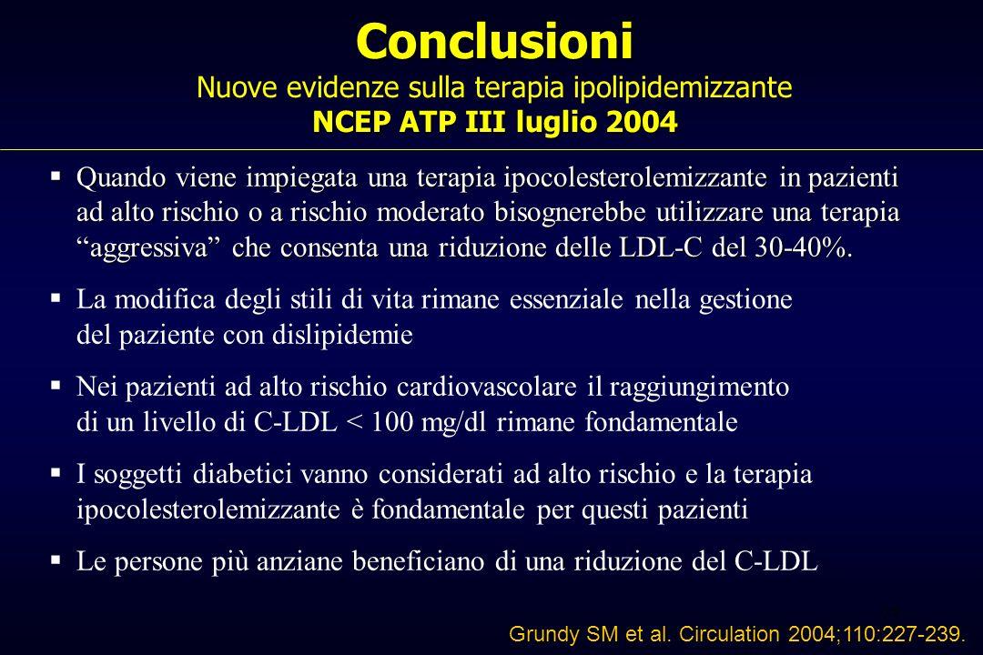 38 Conclusioni NCEP ATP III luglio 2004 Conclusioni Nuove evidenze sulla terapia ipolipidemizzante NCEP ATP III luglio 2004 Quando viene impiegata una