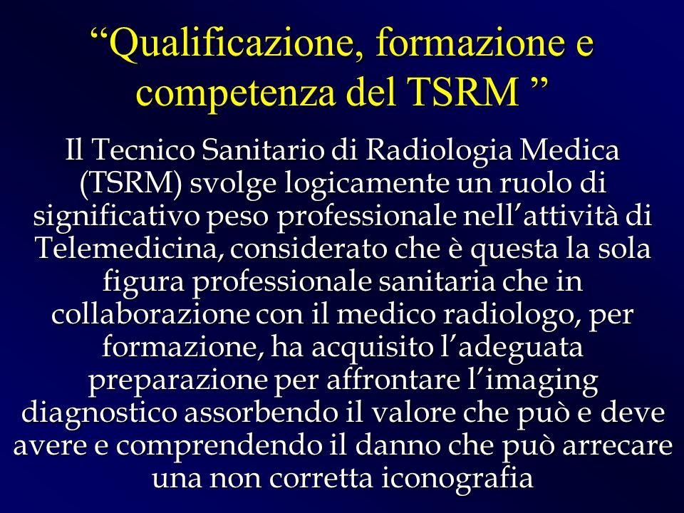 Il Tecnico Sanitario di Radiologia Medica (TSRM) svolge logicamente un ruolo di significativo peso professionale nellattività di Telemedicina, conside