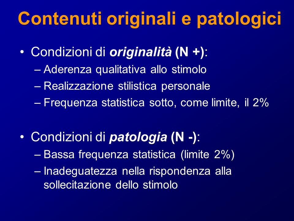 Contenuti originali e patologici Condizioni di originalità (N +): –Aderenza qualitativa allo stimolo –Realizzazione stilistica personale –Frequenza st