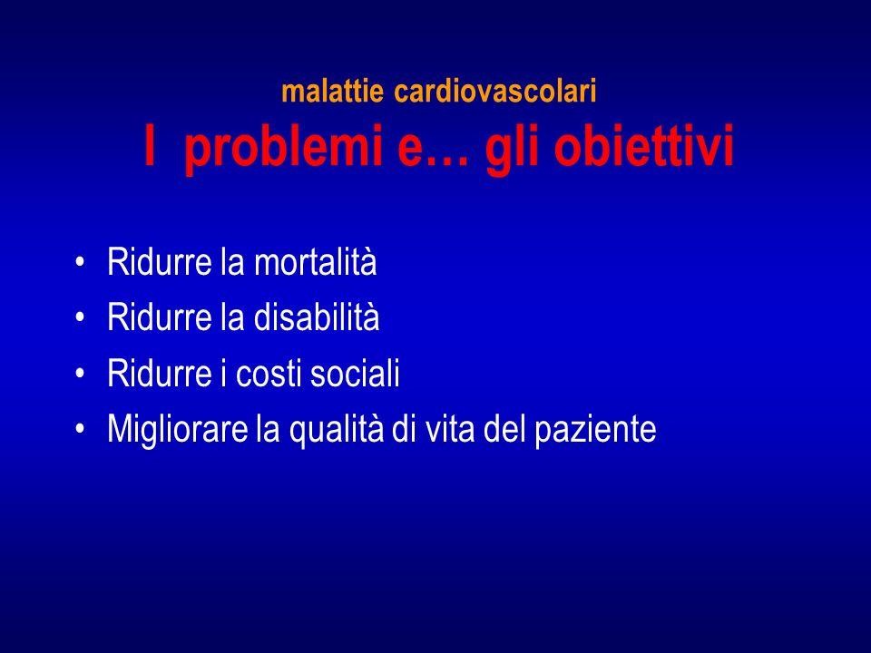 malattie cardiovascolari I problemi e… gli obiettivi Ridurre la mortalità Ridurre la disabilità Ridurre i costi sociali Migliorare la qualità di vita del paziente