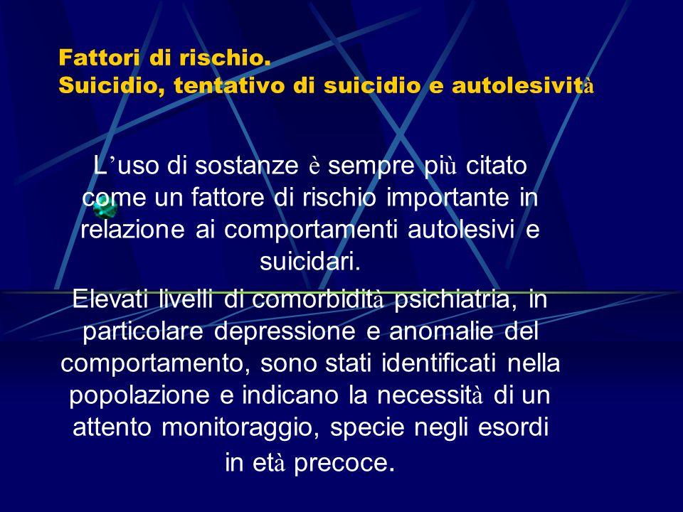 I disturbi da uso di sostanze e la loro comorbidit à di asse I e II Fattori di rischio
