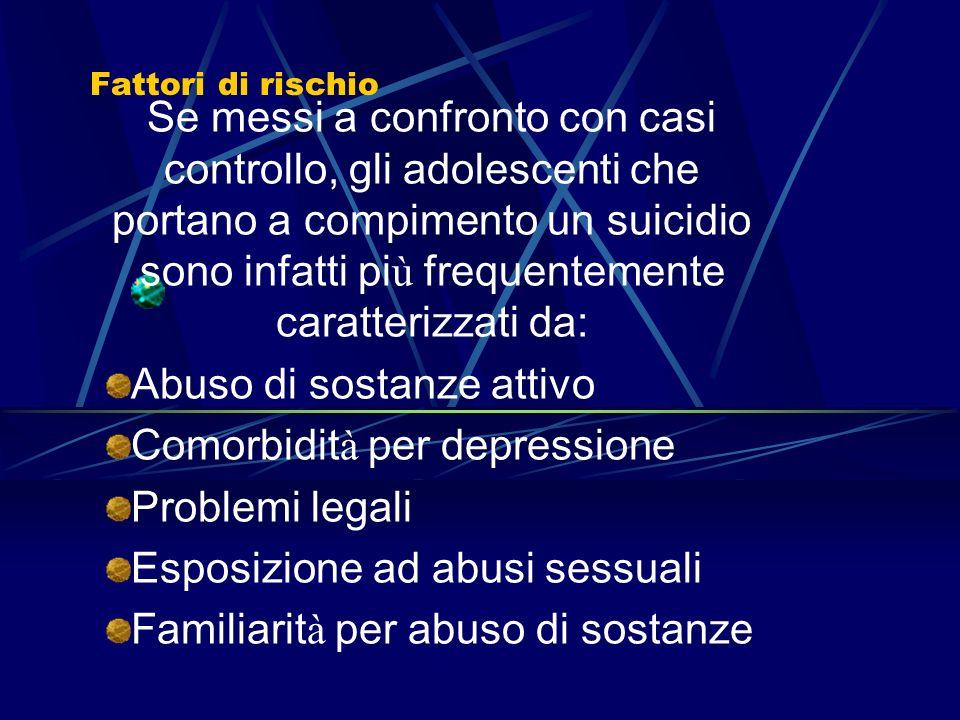 Fattori di rischio. Suicidio, tentativo di suicidio e autolesivit à L uso di sostanze è sempre pi ù citato come un fattore di rischio importante in re