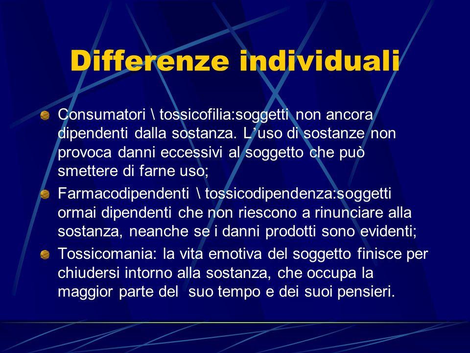 Sindrome di dipendenza (Edwards, 1986) Dipendenza come sindrome bio-psico-sociale caratterizzata da alcuni elementi fondamentali: La consapevolezza di