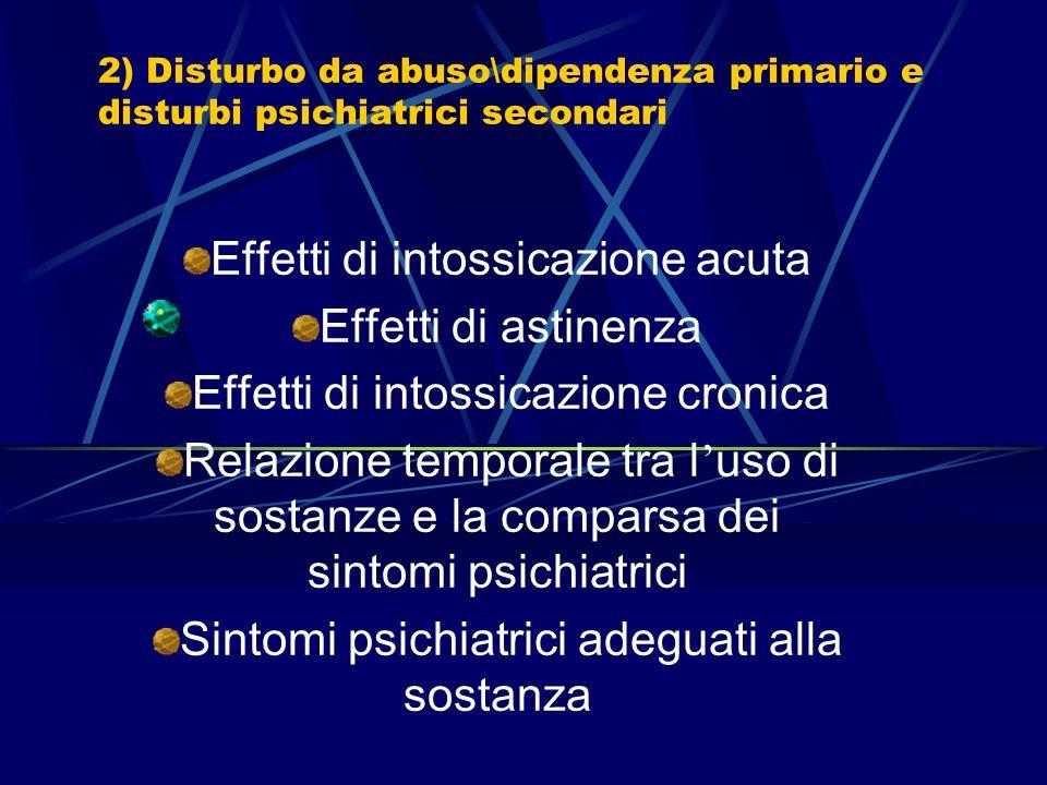 1) Disturbo psichiatrico primario ed abuso\dipendenza secondari Evidenza clinicamente chiara dell esordio del disturbo psichiatrico in periodo precede