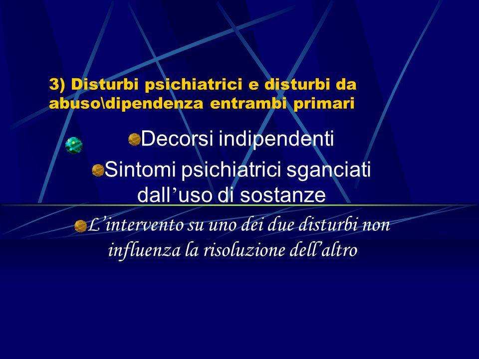 2) Disturbo da abuso\dipendenza primario e disturbi psichiatrici secondari Effetti di intossicazione acuta Effetti di astinenza Effetti di intossicazi