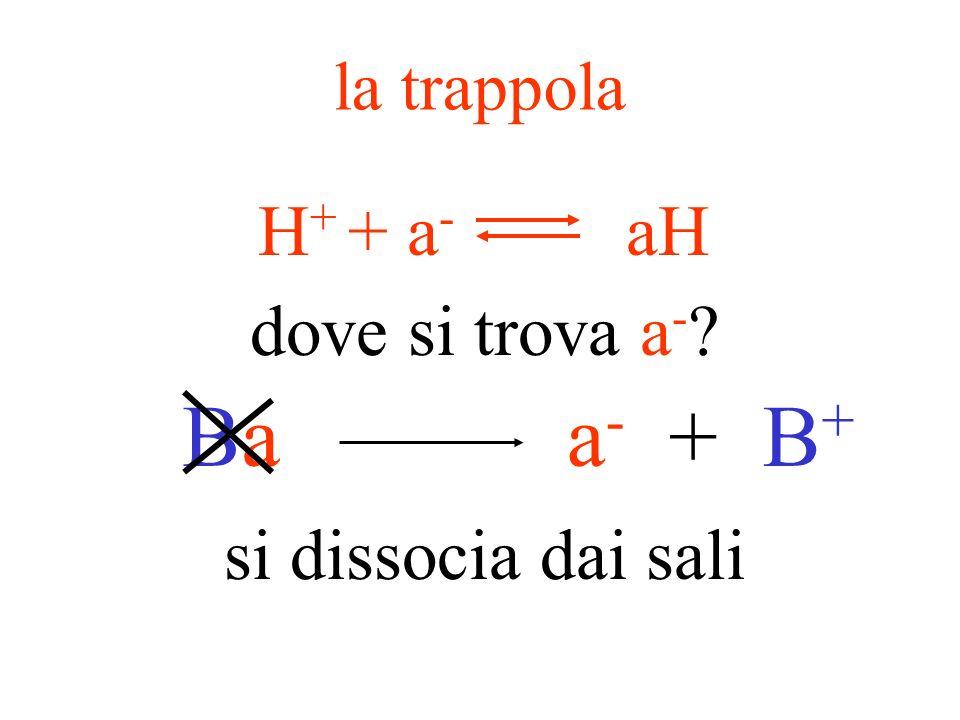 se aumentano gli H + … …una trappola di H + potrebbe minimizzare leffetto sul pH se diminuiscono gli H + … …un serbatoio di H + potrebbe minimizzare l