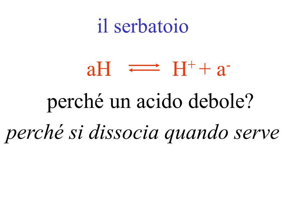 la trappola + a - H+H+ aH dove si trova a - ? BaBaa - + B + si dissocia dai sali