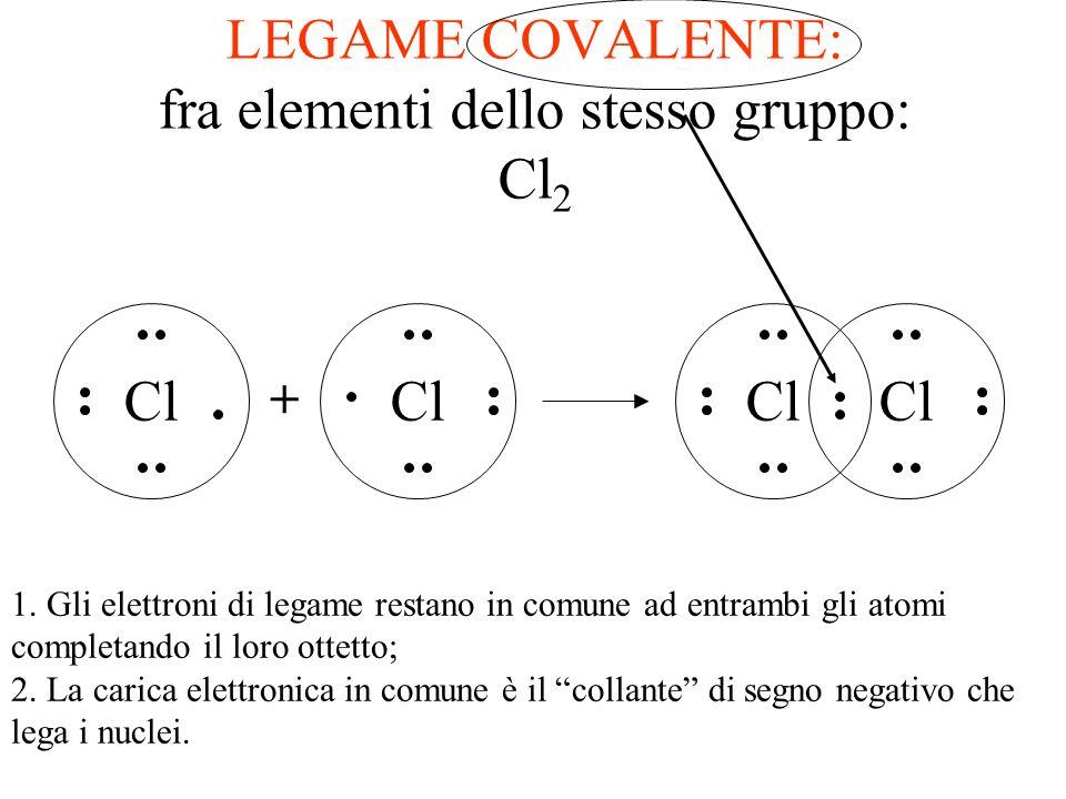 LEGAME IONICO: tra elementi del 2 e 7 gruppo MgCl 2 MgCl + Mg 2