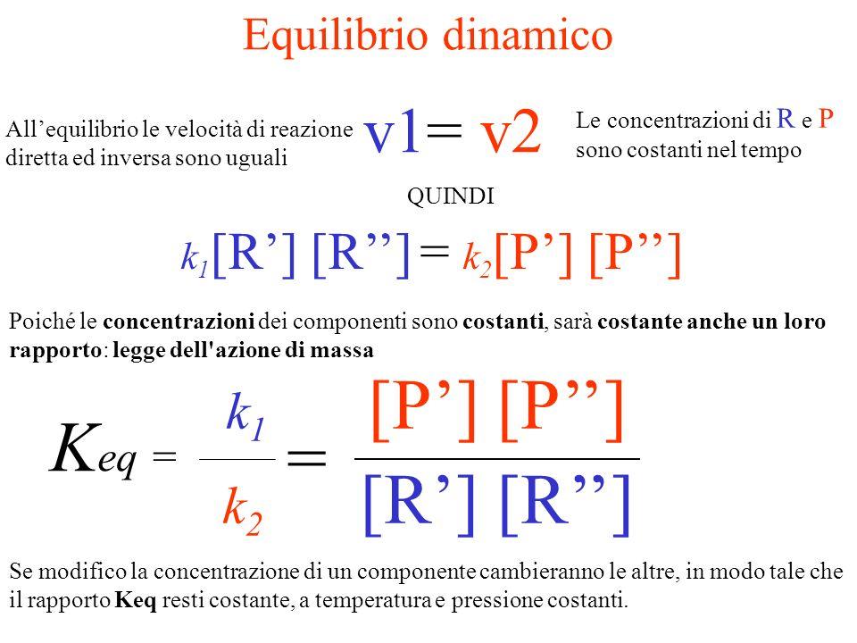 (Reagenti) R + RP + P (Prodotti) k1k1 k2k2 v 1 = k 1 [R] [R] La velocità di reazione dei Reagenti dipende dalla loro concentrazione [] v 2 = k 2 [P] [