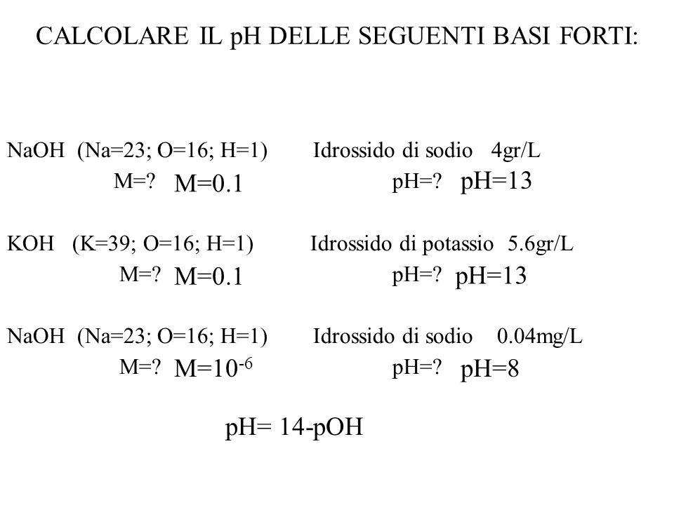 Qual è il valore del pH di una soluzione contenente 2g di cianuro di potassio KCN (PM= 65) in 75ml. K a HCN = 1*10 -10 KCN K + + CN - CN - + H 2 O HCN