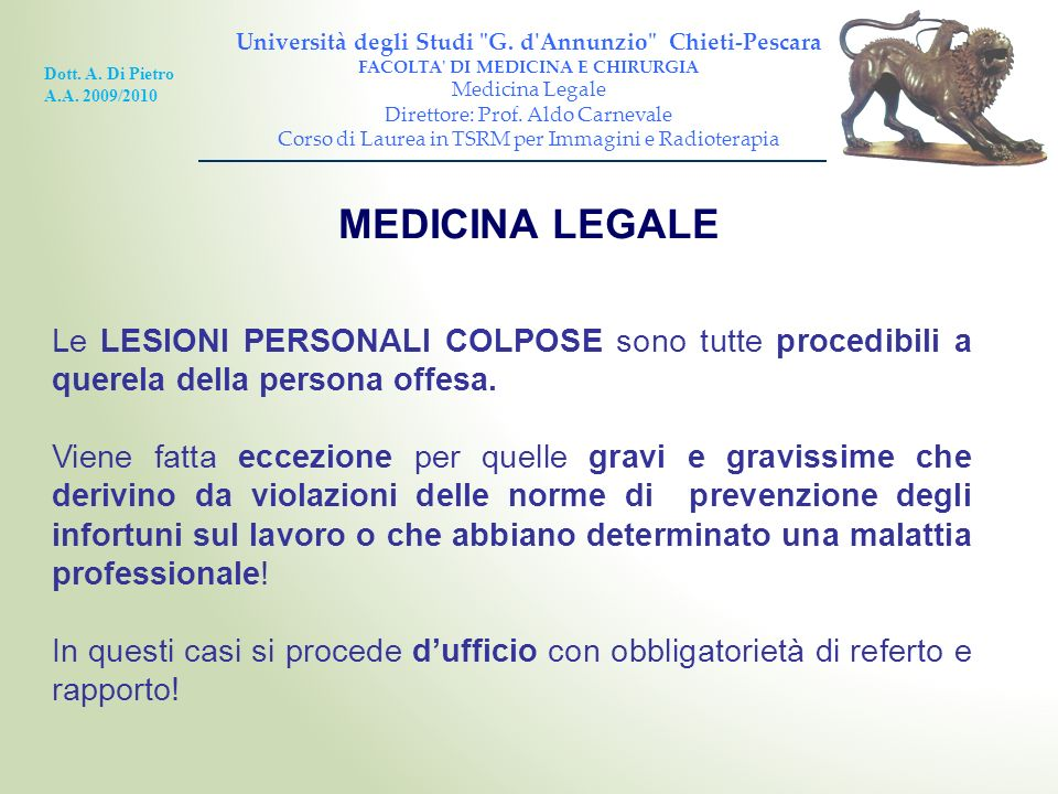 MEDICINA LEGALE Università degli Studi