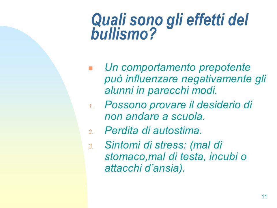 11 Quali sono gli effetti del bullismo? Un comportamento prepotente può influenzare negativamente gli alunni in parecchi modi. 1. Possono provare il d