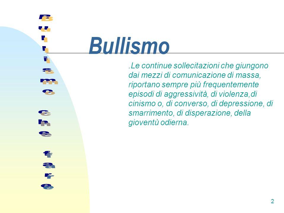 3 Introduzione Prima di affrontare il problema del bullismo bisogna sapere bene qual è la natura di questo fenomeno.