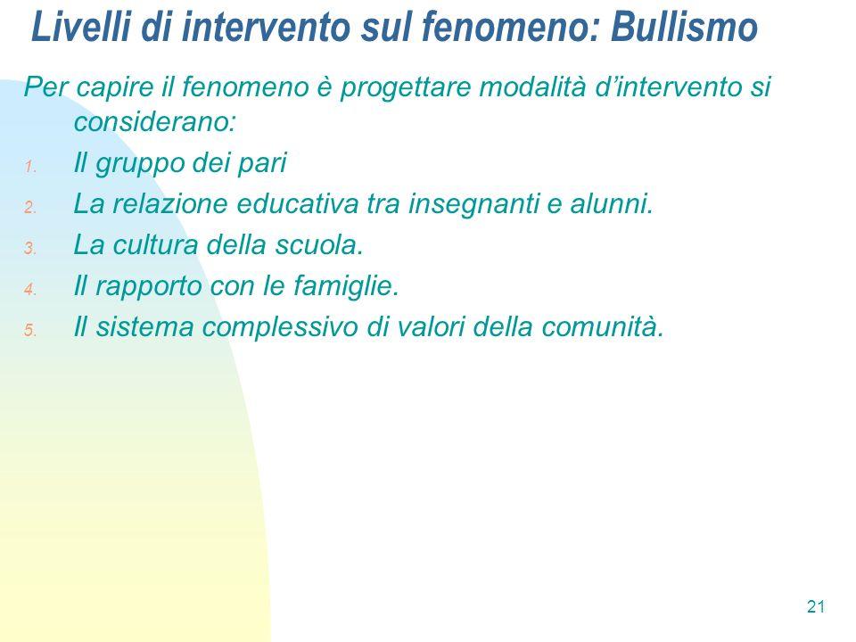 21 Livelli di intervento sul fenomeno: Bullismo Per capire il fenomeno è progettare modalità dintervento si considerano: 1. Il gruppo dei pari 2. La r