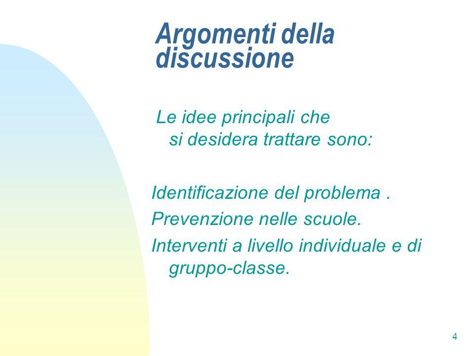 4 Argomenti della discussione Le idee principali che si desidera trattare sono: Identificazione del problema. Prevenzione nelle scuole. Interventi a l