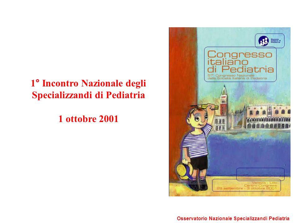 1° Incontro Nazionale degli Specializzandi di Pediatria 1 ottobre 2001 Osservatorio Nazionale Specializzandi Pediatria