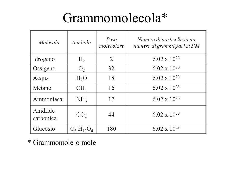 Grammoatomo ElementoSimbolopne Numero atomico Peso atomico Numero di atomi in un numero di grammi pari al PA IdrogenoH101116.02 x 10 23 CarbonioC66661