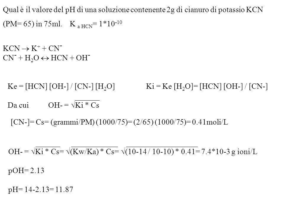 pH idrolisi t 0 : c 0 0 t eq : (1- x )c x c x c HOH + a - aH + OH - [aH] [OH - ] [a - ] K i = ( x c) 2 (1- x )c K i = c ( x c) 2 K i = Se X è molto pi