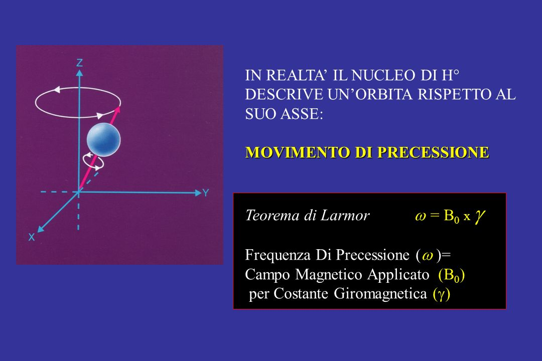 IN REALTA IL NUCLEO DI H° DESCRIVE UNORBITA RISPETTO AL SUO ASSE: MOVIMENTO DI PRECESSIONE Teorema di Larmor = B 0 x Frequenza Di Precessione ( )= Cam