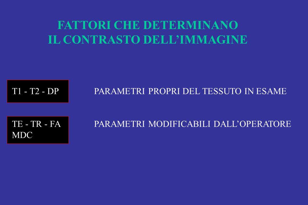 FATTORI CHE DETERMINANO IL CONTRASTO DELLIMMAGINE T1 - T2 - DPPARAMETRI PROPRI DEL TESSUTO IN ESAME TE - TR - FAPARAMETRI MODIFICABILI DALLOPERATORE M