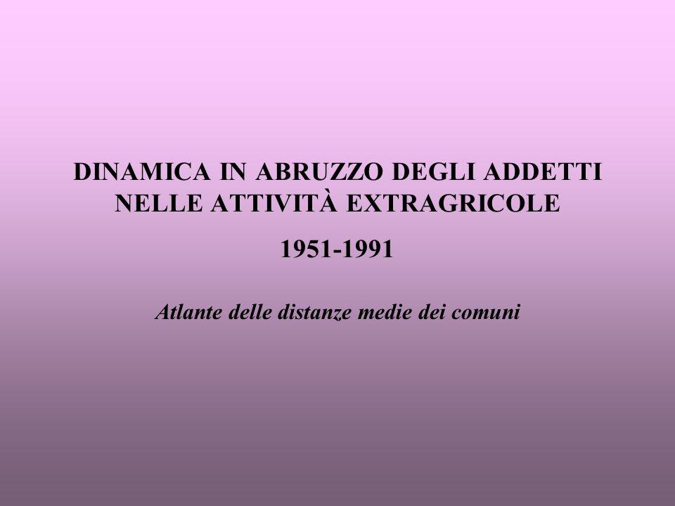 DINAMICA IN ABRUZZO DEGLI ADDETTI NELLE ATTIVITÀ EXTRAGRICOLE 1951-1991 Atlante delle distanze medie dei comuni