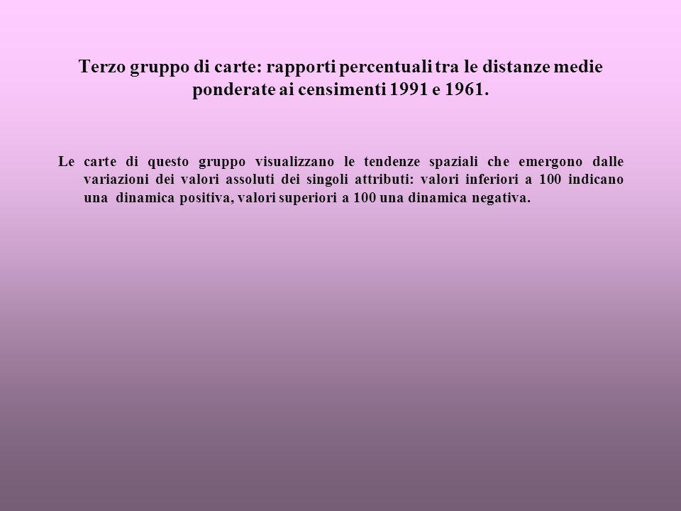 Terzo gruppo di carte: rapporti percentuali tra le distanze medie ponderate ai censimenti 1991 e 1961.