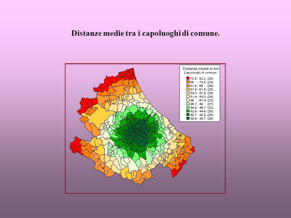 Tendenze 1961-1991 sulla base dei rapporti percentuali tra le distanze medie ponderate: trasporti e comunicazioni.