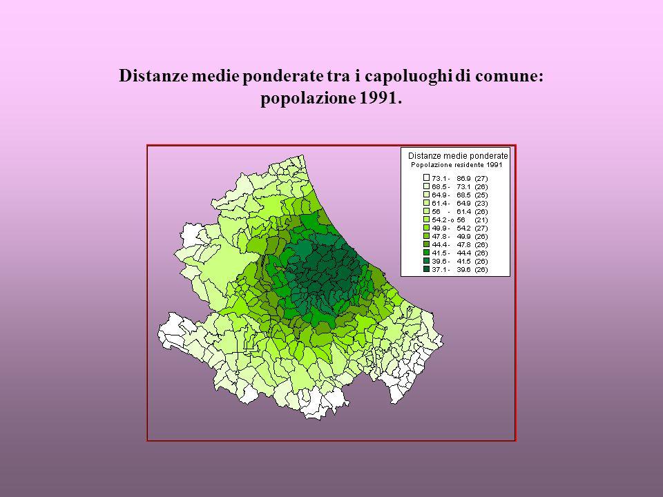 Tendenze 1961-1991 sulla base dei rapporti percentuali tra le distanze medie ponderate: credito e assicurazione.