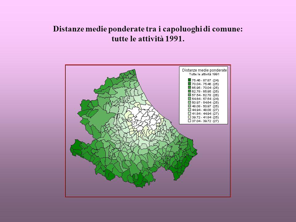 Secondo gruppo di carte: rapporti percentuali tra le distanze medie del comparto e le distanze medie della popolazione residente.