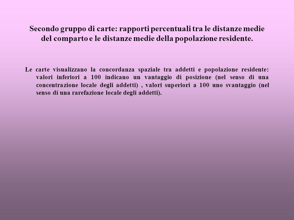 Tendenze 1961-1991 sulla base dei rapporti percentuali tra le distanze medie ponderate: altri servizi.