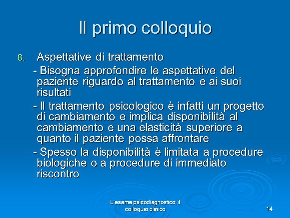 L esame psicodiagnostico: il colloquio clinico14 Il primo colloquio 8.