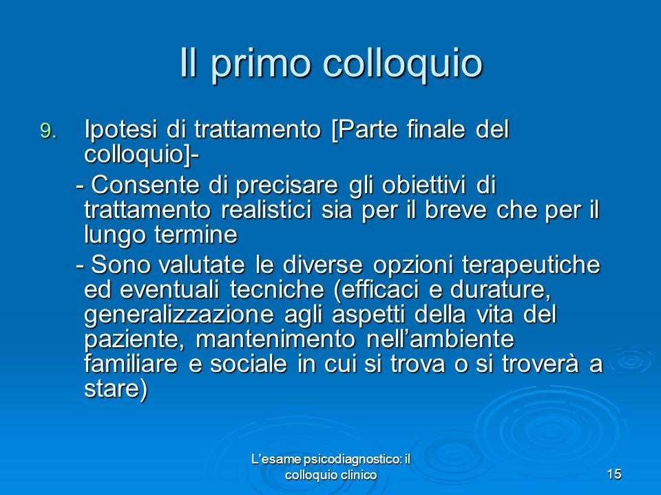 L esame psicodiagnostico: il colloquio clinico15 Il primo colloquio 9.