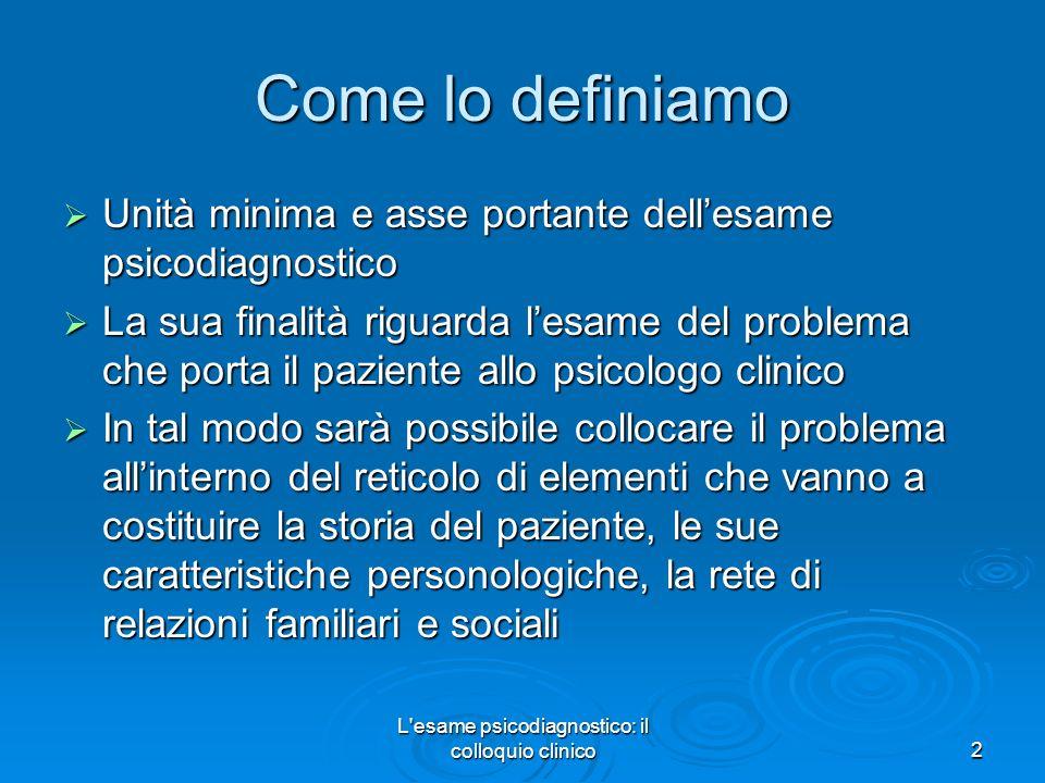 L'esame psicodiagnostico: il colloquio clinico2 Come lo definiamo Unità minima e asse portante dellesame psicodiagnostico Unità minima e asse portante