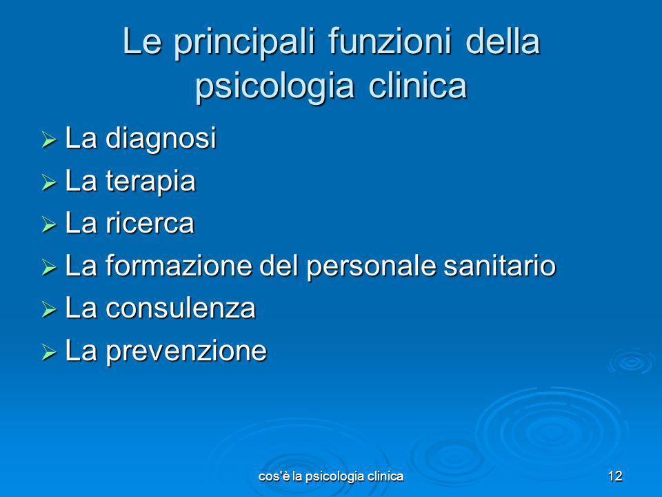 cos'è la psicologia clinica12 Le principali funzioni della psicologia clinica La diagnosi La diagnosi La terapia La terapia La ricerca La ricerca La f