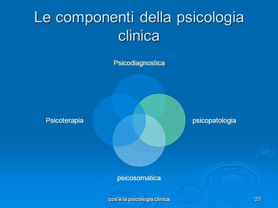 cos'è la psicologia clinica21 Le componenti della psicologia clinica Psicodiagnostica psicopatologia psicosomatica Psicoterapia
