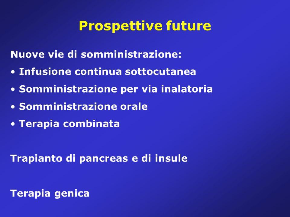 Prospettive future Nuove vie di somministrazione: Infusione continua sottocutanea Somministrazione per via inalatoria Somministrazione orale Terapia combinata Trapianto di pancreas e di insule Terapia genica