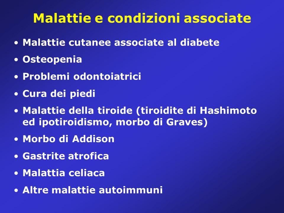 Malattie e condizioni associate Malattie cutanee associate al diabete Osteopenia Problemi odontoiatrici Cura dei piedi Malattie della tiroide (tiroidite di Hashimoto ed ipotiroidismo, morbo di Graves) Morbo di Addison Gastrite atrofica Malattia celiaca Altre malattie autoimmuni